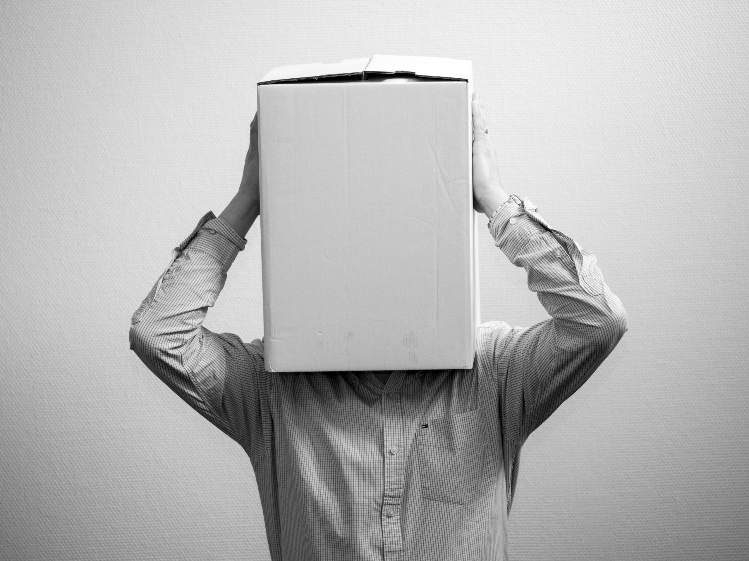 Mensch mit Kopf in der Kiste, Krise